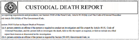 Texas Custodial Death Report
