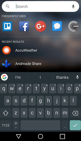 Evie Launcher's Search Screen in Android