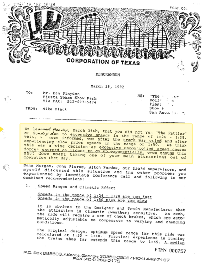 Six Flags Fiesta Texas Memo about the Rattler Rollercoaster