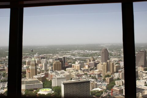 The view from the top of the Tower of the Americas, the tallest structure in San Antonio.