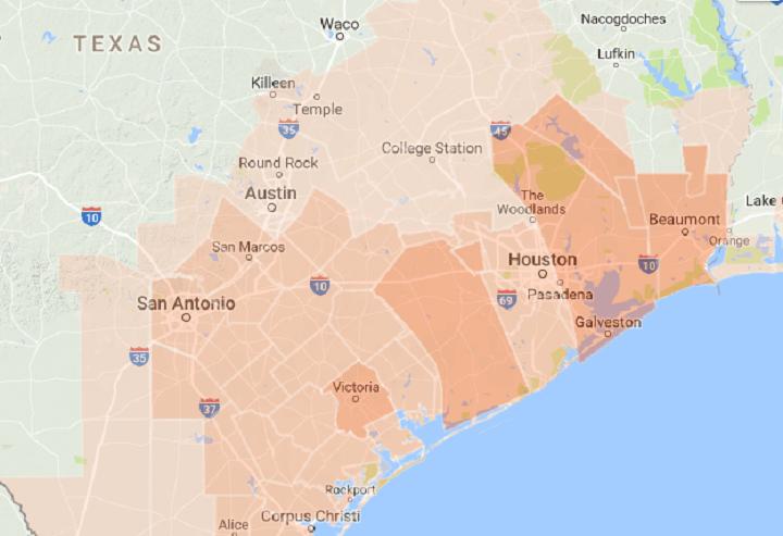 Google map of public safety alerts
