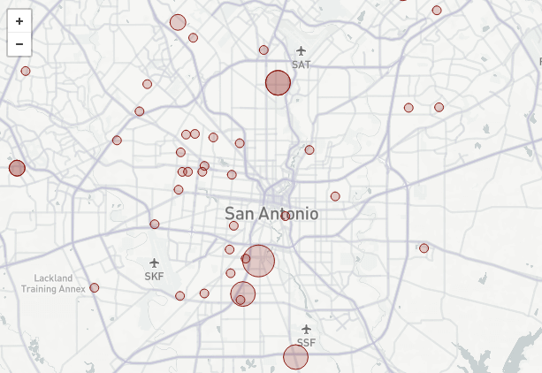 Interactive map of aggressive dog locations in San Antonio